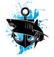 black silhouette shark anchor stylish shark logo vector image vector image