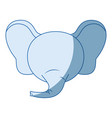 blue color shading faceless of elephant animal vector image