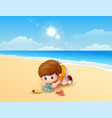 boy playing a sea shells at the beach vector image vector image