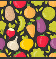 bright vegetables seamless pattern on dark vector image