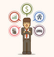 businessman vision goal dream in the future vector image vector image