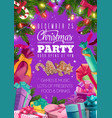 christmas gifts and presents xmas party poster vector image