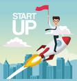 city landscape background star up business man on vector image vector image