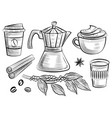 coffee cup and branch with leafs and beans moka vector image vector image