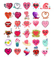 collection cute heart character stickers vector image