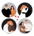 couples in love round avatars vector image