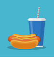 cup with soda and hotdog vector image vector image
