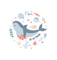 cute smiling shark with friend in childish style vector image vector image