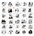 extreme sports icon set doodle collection vector image vector image