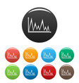 finance graph icons set collection circle vector image vector image