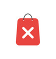 flat design concept of shopping bag with x mark vector image vector image