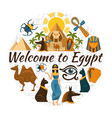 flat egypt travel round concept vector image vector image