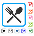 fork and spoon framed icon vector image vector image