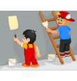funny two little boy cartoon painting the wall vector image vector image