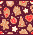 gingerbread seamless pattern xmas cookies red vector image