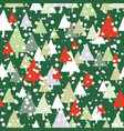 green and red snow trees christmas seamless vector image