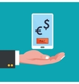 hand with smartphone dollar euro sign vector image