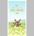 Hello spring landscape background with deer family vector image vector image