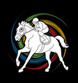 horse racing jockey riding horse vector image