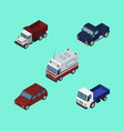 isometric automobile set of freight first-aid vector image vector image