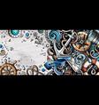 Nautical hand drawn doodle banner cartoon