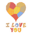 patchwork heart and text vector image