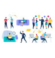 people characters set social network and teamwork vector image