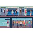 people inside subway public transport underground vector image vector image