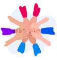 people putting their hands together friends with vector image vector image