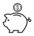 piggy bank line icon business and finance vector image vector image