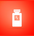 pill bottle with rx sign and pills icon isolated vector image vector image