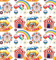 Seamless clowns and circus vector image vector image