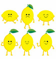 set cartoon lemons vector image