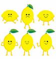 set cartoon lemons