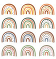 set isolated pastel rainbows part 2 vector image vector image