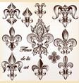 Set of heraldic fleur de lis for design vector image