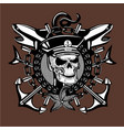 skull captain vintage style sailor tattoo with vector image