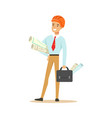smiling architect standing and holding project vector image vector image
