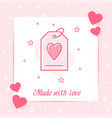 tag heart valentine card love text icon vector image
