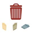 Trash icon set Isometric vector image
