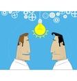 Two cartoon businessman share idea vector image vector image