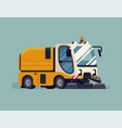 urban sweeper truck city cleaning sanitation vector image