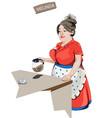 woman waitress serving coffee cartoon vector image vector image