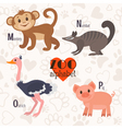Zoo alphabet with funny animals M n o p letters vector image vector image
