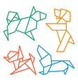 origami dogs icon set abstract low poly pet dog vector image