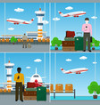 air travelers with travelers baggage vector image vector image