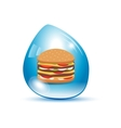 Burger in a water drop vector image vector image