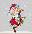 cartoon funny santa claus happily runs on the hop vector image vector image