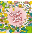 Cartoon lettering Super Sale in doodle style vector image