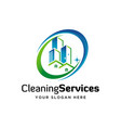 cleaning and maintenance building logo design vector image